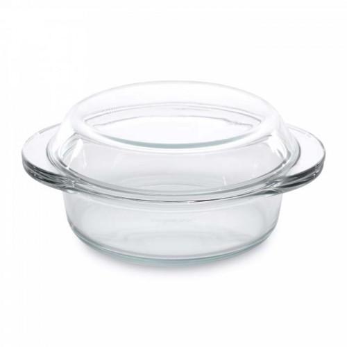 Кастрюля с крышкой, стеклянная, 19,5 х 16 см, 0,7 л