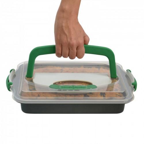 Форма для выпечки 36 х 27 х 5 см с инстр-м для нарезания и крышкой