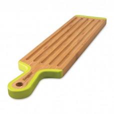 Доска для нарезания длинная, бамбуковая с длинной силиконовой ручкой, 43 х 10 см