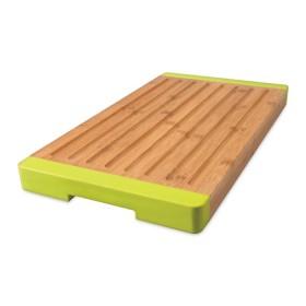 Дошка для нарізання з жолобками, бамбукова з силіконовими ручками, 40х22 см