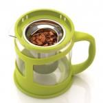 Чайник заварювальний для чаю, скляний, в підставці лайм, 0,6 л