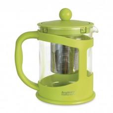 Чайник заварочный для чая, стеклянный, в подставке лайм, 0,6 л