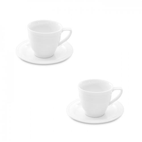 Набір чашок з блюдцем Hotel, фарфор, 150 мл, 2 шт.