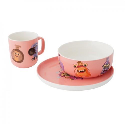 Набор посуды Monsters, фарфор, розовый, 3 пр.