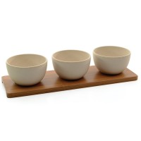 Набір мисочок для закусок на бамбуковій підставці, 4пр.