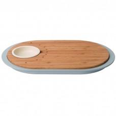 Доска для нарезки LEO, с поддоном и емкостью для соуса, 39 х 23 х 2,5 см