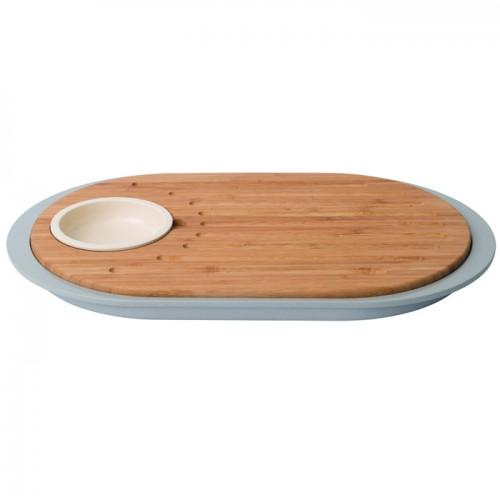 Дошка для нарізки LEO, з піддоном іємністюдля соусу, 39х23х2,5 см