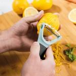 Терка для имбиря, овощечистка и нож с зестером LEO