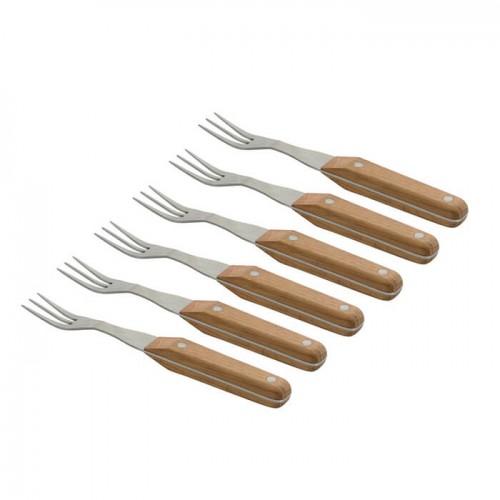Набір виделок для стейка з дерев'яними ручками, 22 см, 6пр.